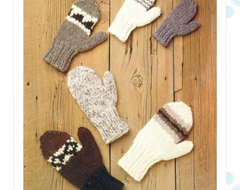mitten pattern - cowichan mittens - child and adult mitten sizes - knit mitten pattern - instant download
