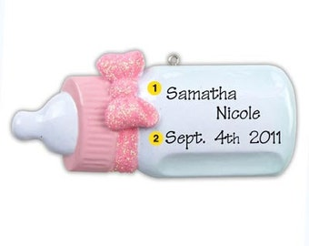 Personalized Baby Girl's First Christmas Ornament Baby Bottle-  Newborn, Baby Shower Gift, Gift tag