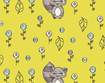 Scamper - Raccoon Acacia by Rebekah Ginda - 1/2 yard - Organic Birch Fabrics