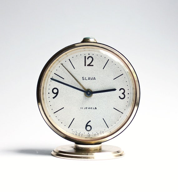 Vintage Russian mechanical alarm clock Slava from Soviet Union period black alarm clock