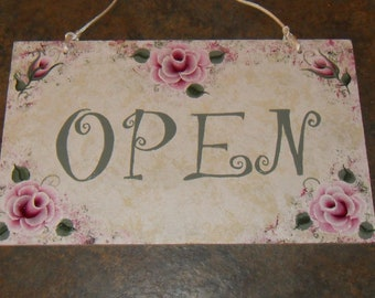 Cottage Shabby Victorian Chic Hand Painted Pink Rose Open Closed Business Sign New