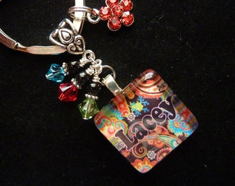 PERSONALIZED Red Paisley Glass Tile Keychain/Pendant Necklace/ Backpack Zipper Pull with Charm