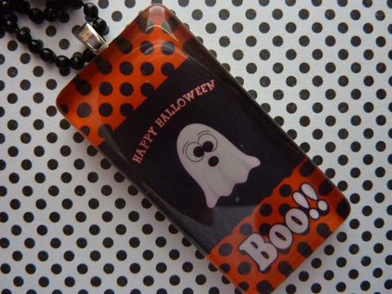PERSONALIZED Boo Halloween Glass Tile Pendant Necklace
