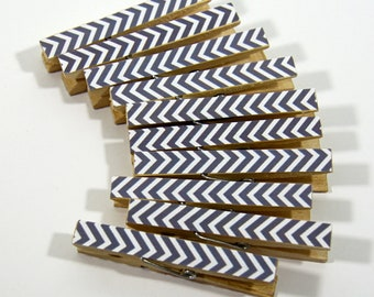 Clothespins.  Set of Ten. Grey Chevron.