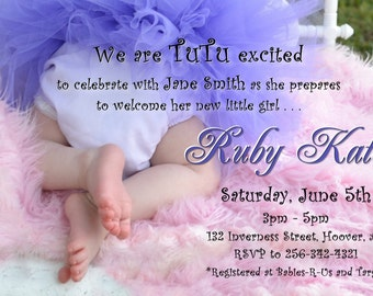 TUTU and Tiny Toes Baby Shower Invitation forbaby GIRL in pink and purple