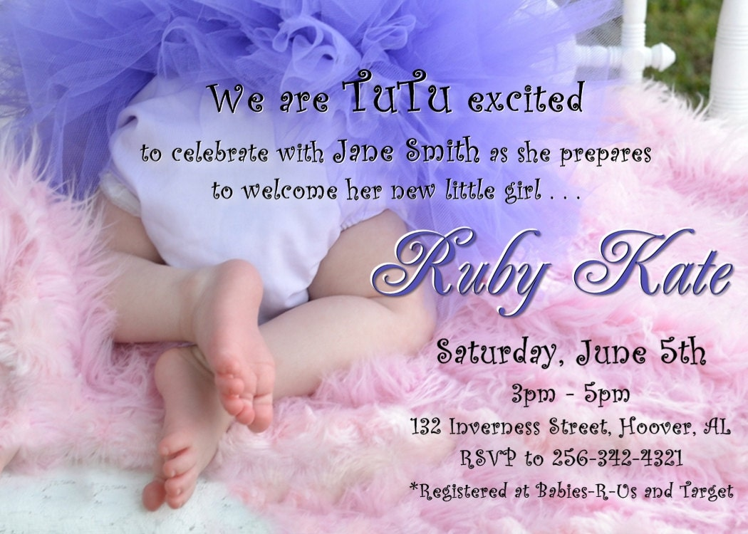 tutu and tiny toes baby shower invitation by wilsonphotoanddesign