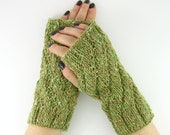 knit fingerless mittens fingerless gloves knit wrists warmers gauntlets merino baby wool sage green beige tagt team