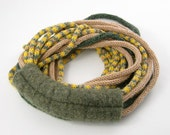ON SALE 30% off - Scarf necklace knit necklace loop scarf  infinity scarf neck warmer women snake moss green yellow olive tagt team teamt