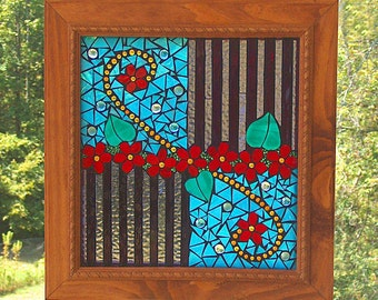 Abstract Mosaic Panel / Suncatcher - Original by BeadedGlass with Custom Handmade Frame