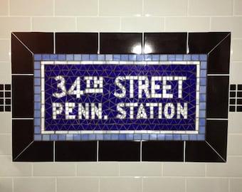 NYC Subway Mosaic Glass Install Replicas for Bathroom  /  Kitchen  /  Backsplash - New York City
