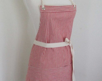 Full Apron Woman  Hemp  Cotton  Organic Fabric Red Stripes Custom Made Wait Staff