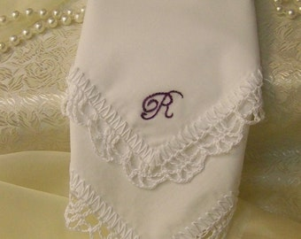 Custom Embroidered Handkerchief, Hanky, Hanky, Monogrammed, Personalized, Hand Crochet, White, Ladies, Lace, Lacy, Women's