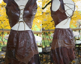 Reduced Holiday Price Full Vintage 80s Miles Tonne Renaissance Faire Fantasy Artist Leather Lace Up Halter Top Skirt and matching Leggings