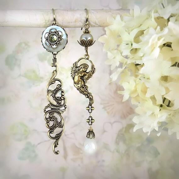 RESERVED for Sara - Dance of the Siren - Mermaid Wedding - Unique Pearl Earrings - Boho Moonstone Earrings - Artistic Bridal Jewelry