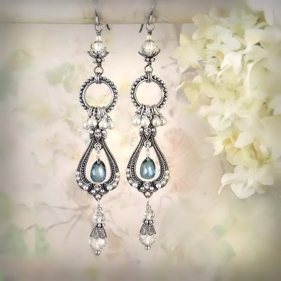 La Belle Époque Earrings - Antique Silver / London Blue Topaz  - Unique Romantic Pearl Blue Earrings - Blue Gemstone - Boho Beach Wedding