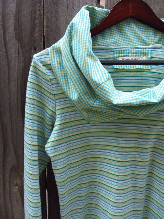 Striped Cowl Neck Long Sleeve Tshirt - Upcycled Clothing - Women Tops T-shirts - cowl neck made from mens dress shirt