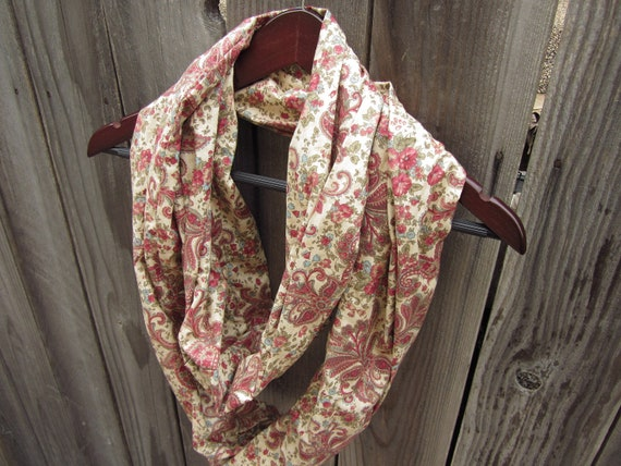 RESERVED for lisalvt - Chintz Paisley Infinity Loop Scarf in Tan and Deep Red - Reclaimed Fabric - Womens Upcycled Clothing