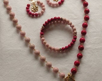 Pink and Rose Riverstone Necklace, Earring and Bracelet Set
