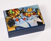 Large Keepsake Box, Wood, Cezanne Apple Basket, Whimsical Parody, Cat Artwork, Treasure Box, Memory Box, Deborah Julian
