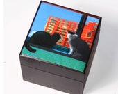 Memory Box, Cat Art, City Skyline, Wood Keepsake Box, Cat Artwork, Missing You, Cat Memorial, Deborah Julian