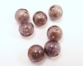 5 Pcs Blown Glass Beads, Round, Black, 13mm, B-1119