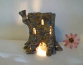 Tree Stump Fairy House and/or Night Light - Handmade on the Potters Wheel