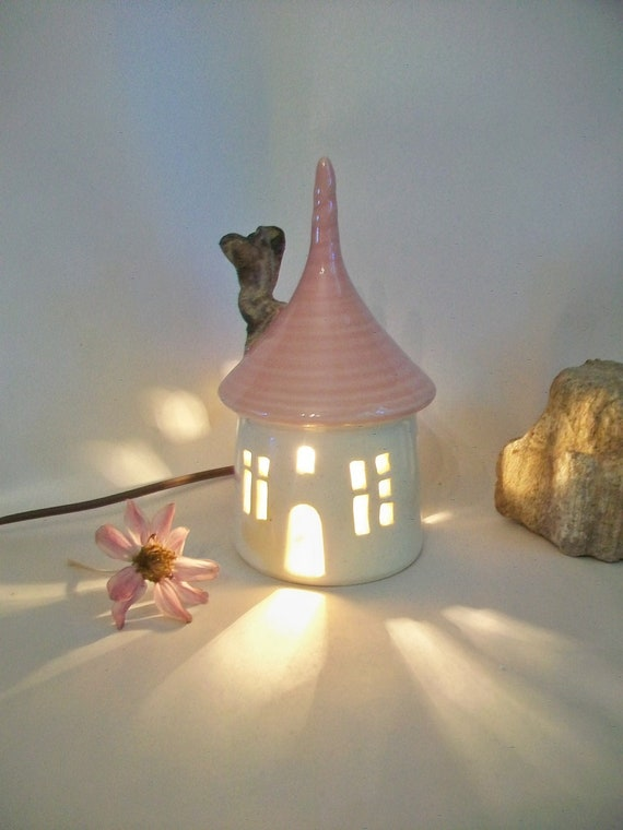 Garden Fairy House Night Light With A Pink Roof