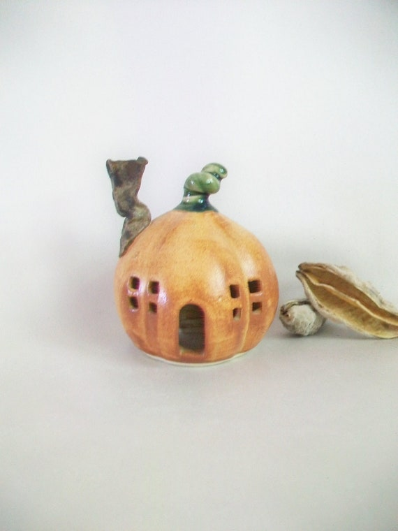 Pumpkin Fairy House/Night Light -Medium Size -  Handmade, Wheel Thrown
