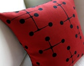 Eames Mid Century Modern Pillow Cover - Maharam - Red Large Dot Pattern - Two Available