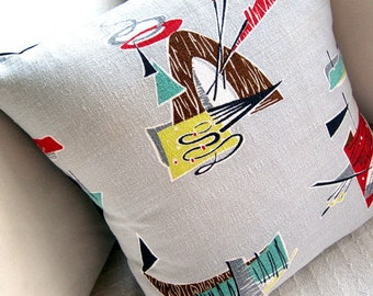 """Indian Teepee Barkcloth Pillow Cover - 1950s Saturday Morning TV Westerns -  17"""" x 17"""""""