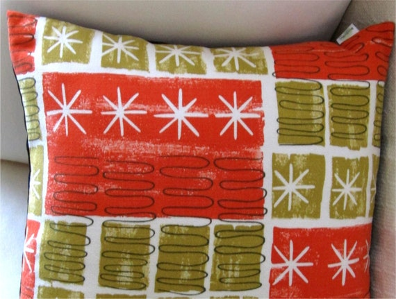 Retro Lumbar Vintage Barkcloth Throw Pillow Cover -- Orange, Chartreuse and White Atomic Stars -- Lumbar Sizes Available