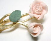 Vintage Faux Porcelain Rose Brooch