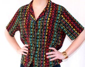 SALE 70s Does 90s Cyber Vintage Rainbow Print Top
