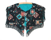 Tassled Early 90s Detachable Native American Print Collar