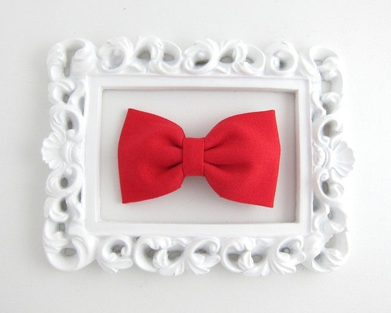 Fabric Bow Hair Clip Red