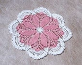 Cottage Chic Pink Daisy Doily, Crochet Lace, Home Decor, Handmade Centerpiece