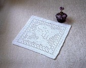 Goddess Filet Crochet Lace Doily, Lady Fiber Art, Female Beauty, Home Decor