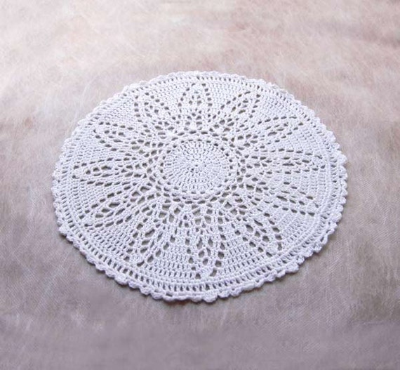 Snow Flower Crochet Lace Table Doily, Home Decor, Original Design Winter White Centerpiece, OOAK