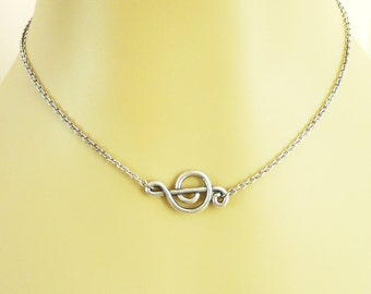 Steampunk Music Note Necklace- Sterling Silver Ox Finish- Sideways Music Note