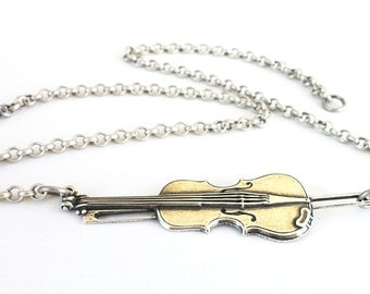 Steampunk Violin Necklace- Sideways Violin Necklace- Sterling Silver Ox Finish