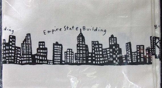 vintage linen black and white new york city by