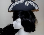Black and white macabre mini pirate hat tricorn lolita costume gothic