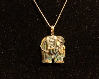 Estate Pre-Owned Sterling Silver Elephant  Abalone Pendant 18in. Chain Ladies Necklace