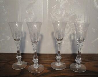 Vintage 1930's Cambridge Cordial Liquor Stemware Glasses Set / 4