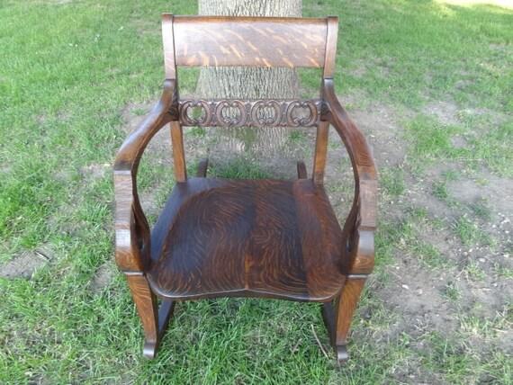 Antique Vintage Oak Wooden Contour Seat Rocking By
