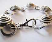 Silver Color Bracelet, Recycled Ringpulls, Rivets, and Hardware, Eco Friendly Jewelry