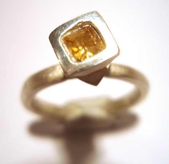 Square Yellow Sapphire Tall Stackable Ring Fine Silver Recycled Silver Size 7 OOAK Handmade by Lisajoy Sachs