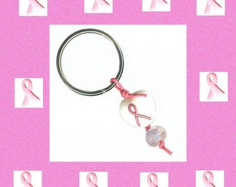 pink ribbon glass bead keychain