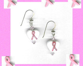 pink ribbon white glass heart earrings 14 kt. gold-filled