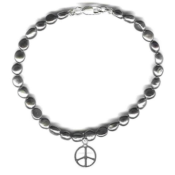 Peace Sign bracelet or anklet freshwater pearl